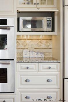 Microwave Shelf Design Ideas, Pictures, Remodel and Decor Hidden Microwave, Microwave Storage, Microwave Cabinet, Microwave In Kitchen, Microwave Cart, Kitchen Doors, Kitchen Redo, New Kitchen, Kitchen Storage