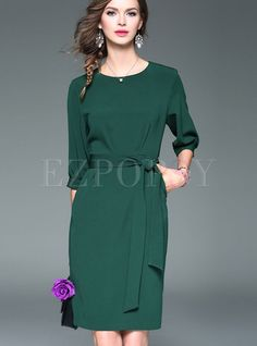 Shop for high quality Brief Pure Color Lantern Sleeve Skater Dress online at cheap prices and discover fashion at Ezpopsy.com