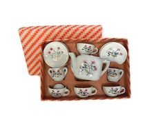 Toy Tea Set 1950s Childrens Toy Dish Set Hand Painted Japan in Original Box…
