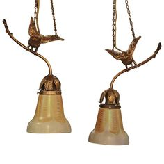 Pair of Bronze Ormolu Birds with Steuben Glass Shade | From a unique collection of antique and modern more lighting at https://www.1stdibs.com/furniture/lighting/decorative-lighting-lamps/