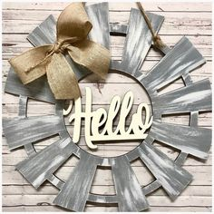 Hello windmill door hanger, monogram, personalized, gift idea, housewarming The decoration of home is similar to an exhibition space that reveals our own tastes and design ideas and that we natura. Wooden Door Hangers, Wooden Doors, Initial Door Hanger, Windmill Decor, Farmhouse Front Porches, Rustic Doors, Front Door Decor, Door Signs, Wooden Crafts