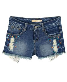 Retro Colorful Beads Denim Shorts from Chicnova