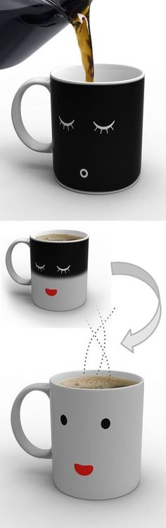hmmm, maybe I need one of these..... Mrs. Good Morning Coffee Mug ♥ lol Before Coffee - After Coffee ... I Need this!