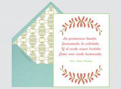 Invitaciones para bodas, Antonio Machado, poesía, primavera, verde, naranja, poemas    Para Más Info Visit: www.LaBelleCarte.com    Online wedding invitations, online weddings cards, flowers, world poetry day, orange, spring    For More Info Visit: www.LaBelleCarte.com/en