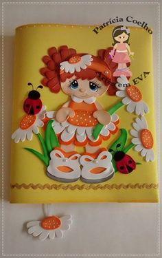 Capa de Caderno Menina Flor