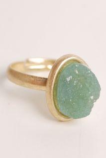 green raw rock ring