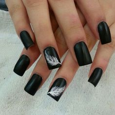 Black with Whispy White Feather Accent Nail Design.