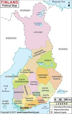 Finland Map- cross the boarder from Lapland to Sweden. Lappland, Finland Flag, European Map, Finland Travel, India Map, Country Maps, World Geography, Fjord, Historical Maps