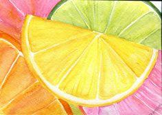 Cítricos acuarelas pinturas rubí rojo pomelo, limón, naranja, pintura original, acuarela de Cales, fruta arte, 5 x 7, decoración de la cocina