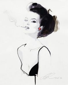 David Downton illustrates fashion | Miss at la Playa
