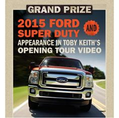 Enter the Toby Keith Shut Up And Hold On #Sweepstakes for a chance to win a 2015 #Ford Super Duty and a chance to appear as an extra in Toby Keith's 2015 Opening Video. Single Entry. Ends 3/31/15. http://sweepstakesfrenzy.com/?p=5777