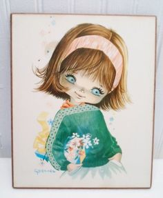 Vintage 1960's Big Eyed Girl w/ Flowers Print on Wooden Wall Plaque by Gallarda