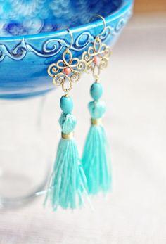 Brass wire wrapped tassel aqua mint blue dangle boho by SabiKrabi, $37.00