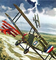 Roy Brown's Sopwith Camel vs Red Baron's Fokker Dr.I, by Merv Corning