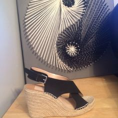 Dolce Vita Beautiful Black Wedges, sold out ♥️♥️♥️ Adorable Black Suede Wedges, celeb favorite ♥️♥️♥️♥️♥️♥️Suede Upper with cross stitch detailing, sold out in all department stores Dolce Vita Shoes Wedges