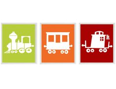 Train Art Print - Boy Nursery Art - Green Orange Red White Decor - Choo Choo Railroad Transportation Wall Art Home Decor set of 3 8x10 on Etsy, $42.00