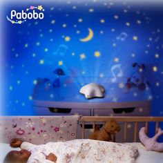 #Pabobo - #Nachtlampje met projectie en #muziek op batterijen - #ster #mint - #projector #nightlight #music #baby #nursery #littlethingz2