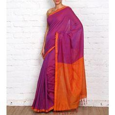 Purple Mangalgiri Cotton Saree