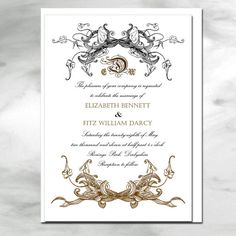 Cheaper to send in the mail boomer/ ant Vintage frame scroll motif wedding invitation by champagnesunday, $3.00