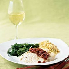 Mediterranean Flair - Coastal Living - Sablefish w Sun-Dried Tomato Tapenade Cod Recipes, Seafood Recipes, Sun Dried Tomato Tapenade Recipe, A Food, Food And Drink, Healthy Sides, Dried Tomatoes, Fun Cooking, Fish And Seafood