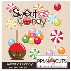 "This Sweet As Candy SVG set includes a ""Sweet as Candy"" title,  Cute Candy Apple character, Shiny and yummy Lollipop, multi-colored candies,  multi-colored gum balls"