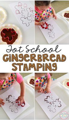 Easy and fun fine motor practice with gingerbread man cookie cutters and paint. Perfect for tot school, preschool, or kindergarten!
