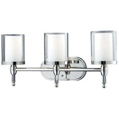 Lawrence 3-Light Chrome Bath Vanity Light with Clear and Matte Opal Glass