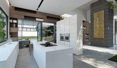 offene küche mit kochinsel und essbereich hochglanz weiße oberflächen