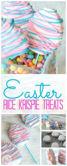 Easter Rice Krispie Treats Recipe Easter Rice Krispie Treats Easter Eggs on Sticks! Homemade Easter Desserts for a cute Centerpiece or Easter Egg Hunt Party Favor! Easter Snacks, Easter Candy, Easter Recipes, Easter Eggs, Easter Food, Easter Crafts, Cute Easter Treats For Kids, Rice Recipes, Easter Baking Ideas