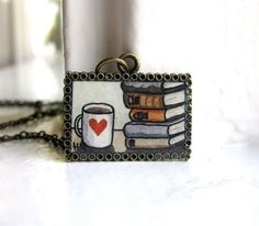 Necklace - Books and Coffee