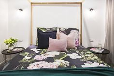 Julia and Sasha have made some sensational artistic choices this season, and these redo bedrooms feature some of their best. Their 'Fleur', 'Noir' and 'Tranquillity' are all available now. Bonnie And Neil, Cushions For Sale, Velvet Cushions, Guest Bedrooms, Pastel Pink, Toddler Bed, Blanket, Luxury, Furniture