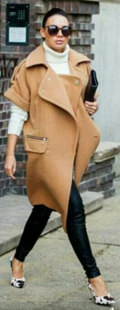 Pair a turtleneck with a 3/4 sleeve coat