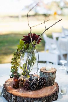 Fall Wedding Centerpieces Idea #25 Burlap Covered Flower Pot | Add Glamour To Your Big Day With These Elegant Rustic Fall Wedding Centerpieces