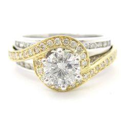 Round Cut Dual Tone Prong Set Diamond Engagement Ring R192