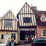STYLE-MEDIEVAL VERNACULAR OR LATE GOTHIC; LAVENHAM, SUFFOLK, ENGLAND, 1400'S; LAVENHAM HOUSES-HALF-TIMBERED MEDIEVAL MERCHAT'S HOUSES