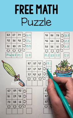 FREE Spring Math Puzzles Grades 3 to 8. Sign up for monthly free math activities.