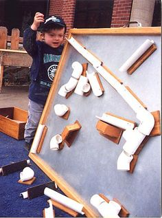 Magnetic marble roll from PVC pipe for the playroom. Get pips big enough for ping pong balls? Stem Activities, Activities For Kids, Crafts For Kids, Maker Fun Factory Vbs, Marble Tracks, Making Wooden Toys, Marble Games, Pvc Projects, Outdoor Classroom