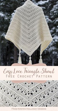 Primrose and Proper Easy Triangle Shawl Crochet Pattern - Kirsten Holloway Designs The classic triangle shape and lacy stitches make the Primrose and Proper shawl pattern a warm, yet beautiful crochet project to dress up your wardrobe. Poncho Au Crochet, One Skein Crochet, Crochet Pattern Free, Beau Crochet, Crochet Prayer Shawls, Mode Crochet, Crochet Shawls And Wraps, Crochet Motifs, Crochet Scarves