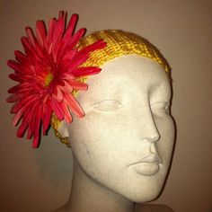 Pink flower hair clip on sunshine yellow 100% soft acrylic headband. One size fits most $15