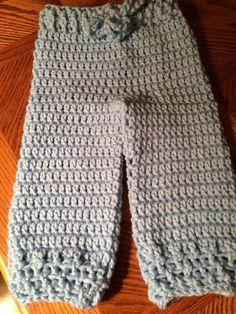 New Acrylic Crochet Handmade Boy/Girl Baby Blue Drawstring Pants 6-9 months  #Handmade #Pants #Everyday