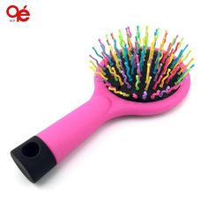 [Visit to Buy] rainbow volume hair brush magic hairbrush massage anti-static brush for hair tangle brush comb with mirror #Advertisement