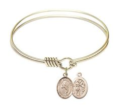 Gold-Filled Round Eye Hook Bangle Bracelet - Saint Sebastian - Martial Arts charm - 6.25 inch (B4204RG-9168GF)