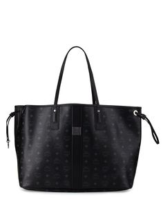 Liz Large Reversible Shopper Tote Bag, Black - MCM