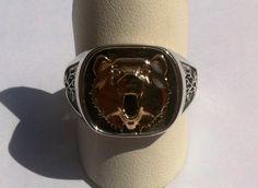 Gold bear face with diamond eyes. Bear Face, Diamond Eyes, Heart Ring, Cuff Bracelets, Creativity, Jewelry Design, Jewellery, Rings, Gold