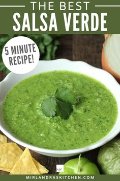 This is the best salsa verde recipe! You can make this in just five minutes with a handful of ingredients. It is wonderful on eggs, tortillas, enchiladas, burritos and tacos. Even if you have never used tomatillos before in a recipe, this will turn out wonderfully for you! #mexicanfood #homemade #easy #fromscratch #condiment Mexican Dishes, Mexican Food Recipes, New Recipes, Cooking Recipes, Favorite Recipes, Healthy Recipes, Ethnic Recipes, Amazing Recipes, Easy Recipes