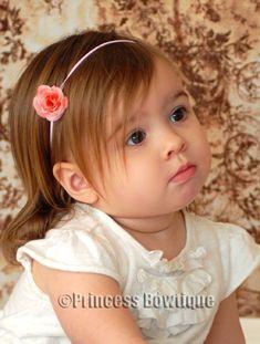 Bitty Coral Rosebud Newborn/Toddler Headband: Princess Bowtique