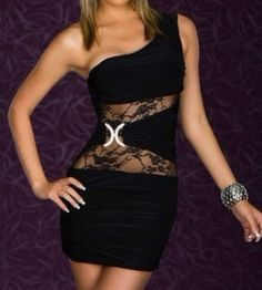 72f05ff38a8 Black Women Hot Sexy Lace One Shoulder Clubwear Cocktail Casual Party Mini  Dress Dresses 2013