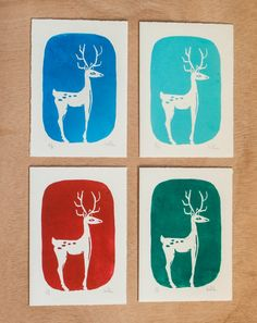 Christmas Greeting Cards  Postcards  Set of por RainTreePrintmaking