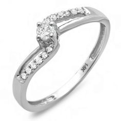 0.20 Carat (ctw) 14k White Gold Round Diamond Wave Ladies Bridal Promise Engagement Ring 1/5 CT DazzlingRock Collection. Save 71 Off!. $199.00. Just the perfect Ring for that perfect couple.. Crafted in pure 14K White Gold. Weighs approximately 1.50 grams. Diamond Color / Clarity : I-J / I2-I3. Items is smaller than what appears in photo. Photo enlarged to show detail