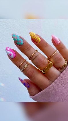 Acrylic Nails Coffin Pink, Pastel Nails, Simple Acrylic Nails, Coffin Nails, Gel Nails, Colorful Nails, Shellac, Edgy Nails, Funky Nails
